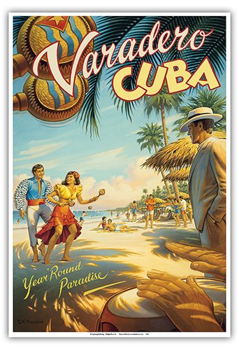 Varadero, Cuba - Year Round Paradise - Native Cuban Dancers with Maracas - Vintage Style World Travel Poster by Kerne Erickson - Master Art Print - 13 x 19in