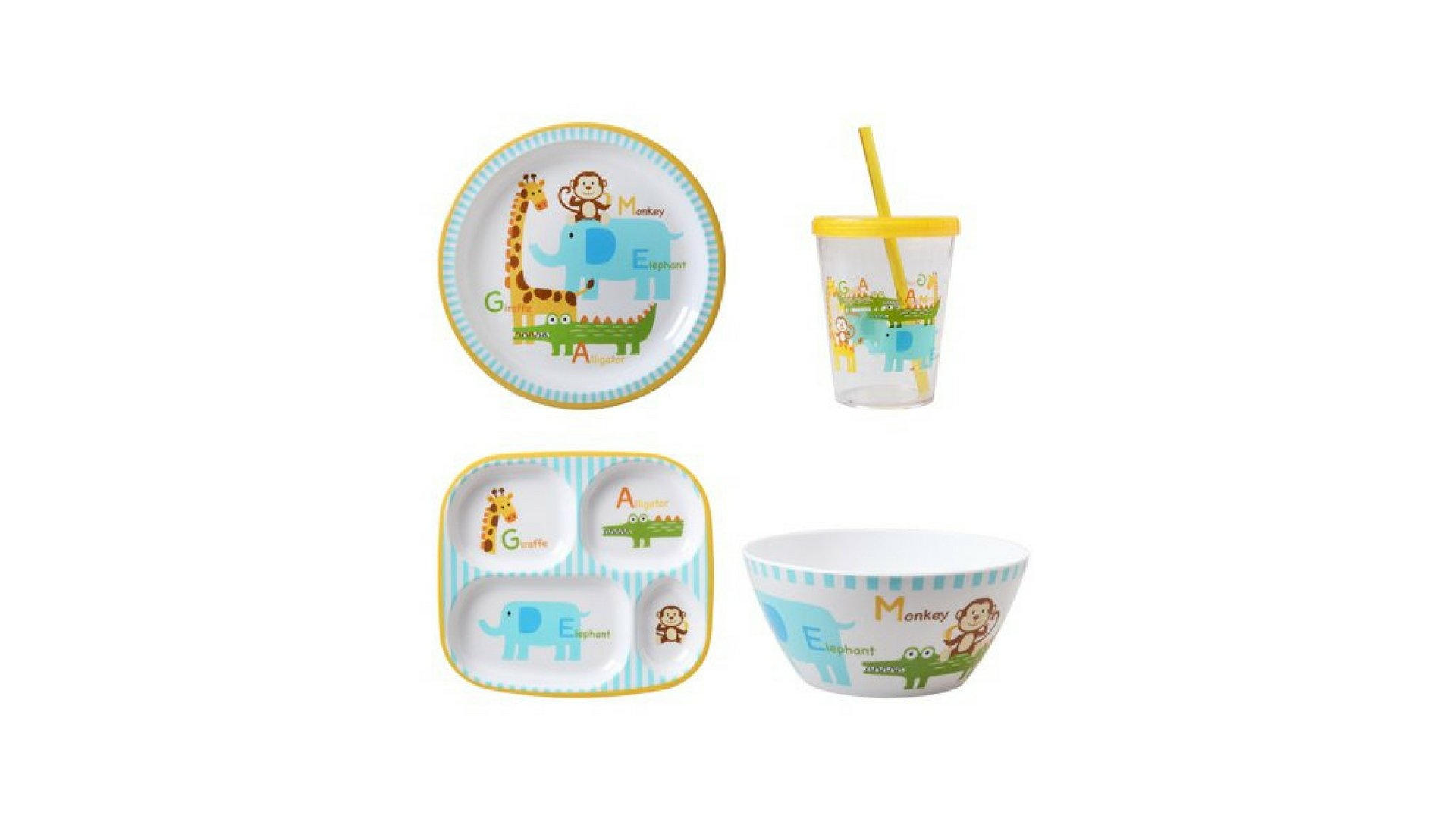 Kids 4-Pack Tabletop Set: includes 1 Plate, 1 Divided Plate, 1 Bowl, 1 Tumbler