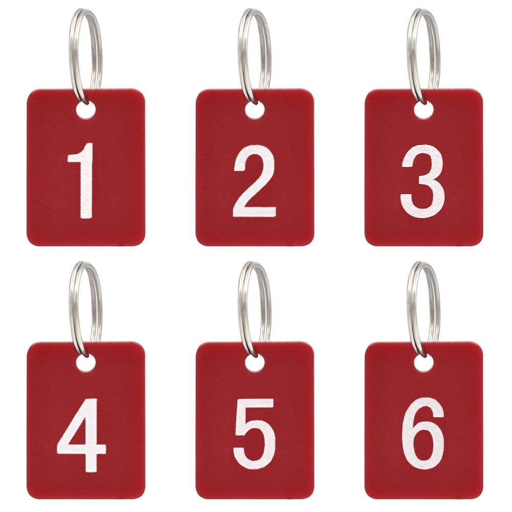 Aspire Etiquetas numeradas con llavero para organizar y clasificar etiquetas de identificaci/ón 50/unidades acr/ílico color Black Rectangle 1to50