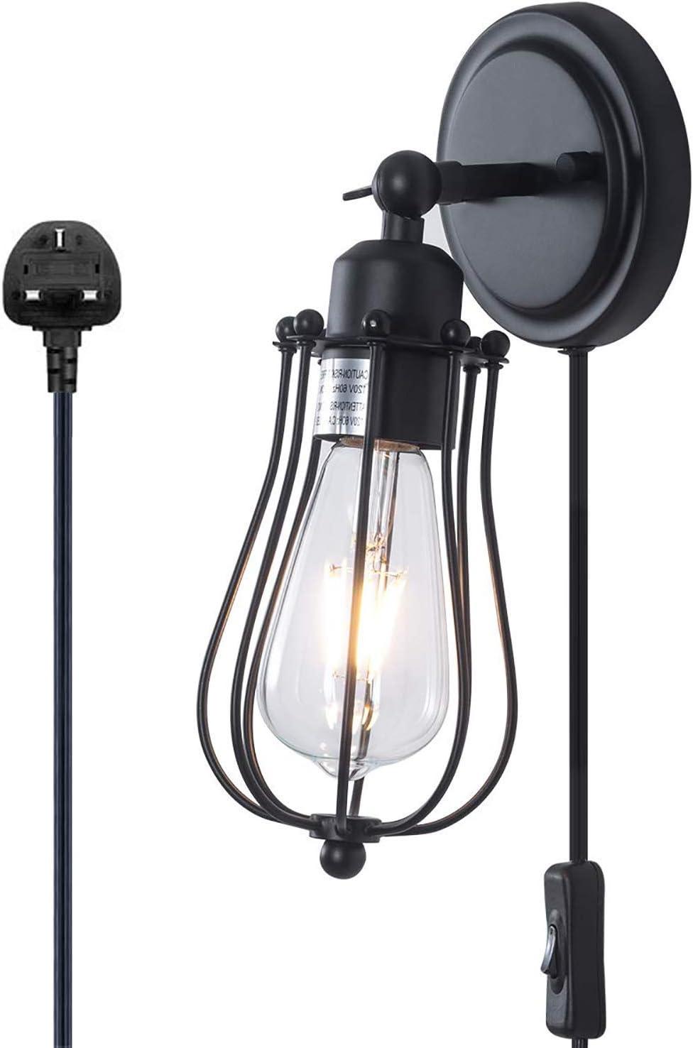 Lámpara de pared de jaula de alambre industrial Lámpara de pared de estilo vintage con cable de interruptor de encendido / apagado ajustable de 6 pies, negro rústico 1 luz E27 Base de iluminación de p