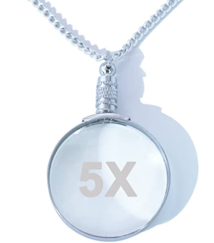 Amazon 5x silver magnifying glass necklace pendant magnifier 5x silver magnifying glass necklace pendant magnifier with 30quot matching silver chainglass aloadofball Image collections