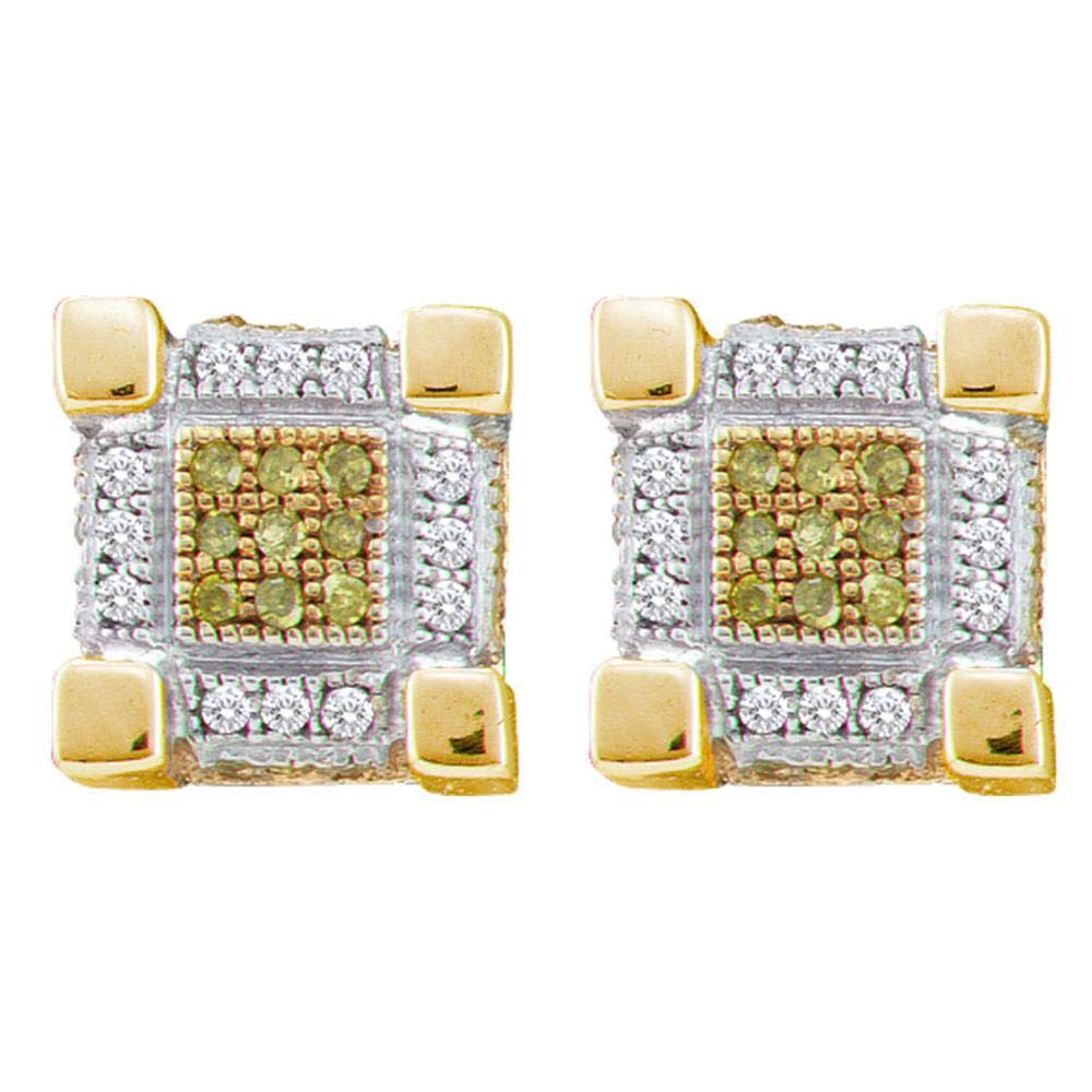 Sterling Silver Mens Round Yellow Color Enhanced Diamond 3D Cube Stud Earrings 1//5 Cttw