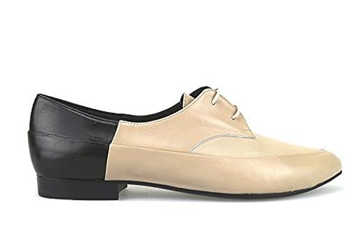 AH82 Oxfords-Shoes Woman Black Beige Leather (7 US / 37 EU)