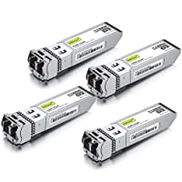 10GBase-SR SFP+ Transceiver, 10G 850nm MMF, up to 300 Meters, Compatible with Cisco SFP-10G-SR, Meraki MA-SFP-10GB-SR, Ubiquiti UF-MM-10G, Mikrotik, D-Link and More, Pack of 4