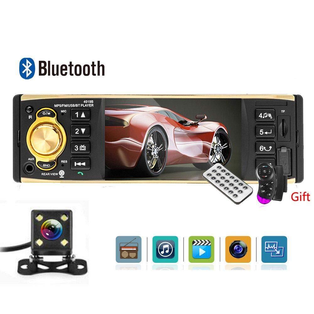 UNITOPSCI Car Stereo Single Din Car Radio Car Audio 4'' TFT HD Screen Support Bluetooth FM AUX USB TF Card MP3 Car Audio with Rear View Camera