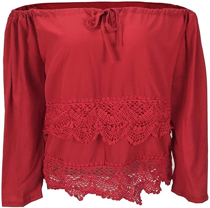d458f1d56ee Women s Sexy Off Shoulder Lace Scallop Hem Long Sleeve Casual Blouse Tops
