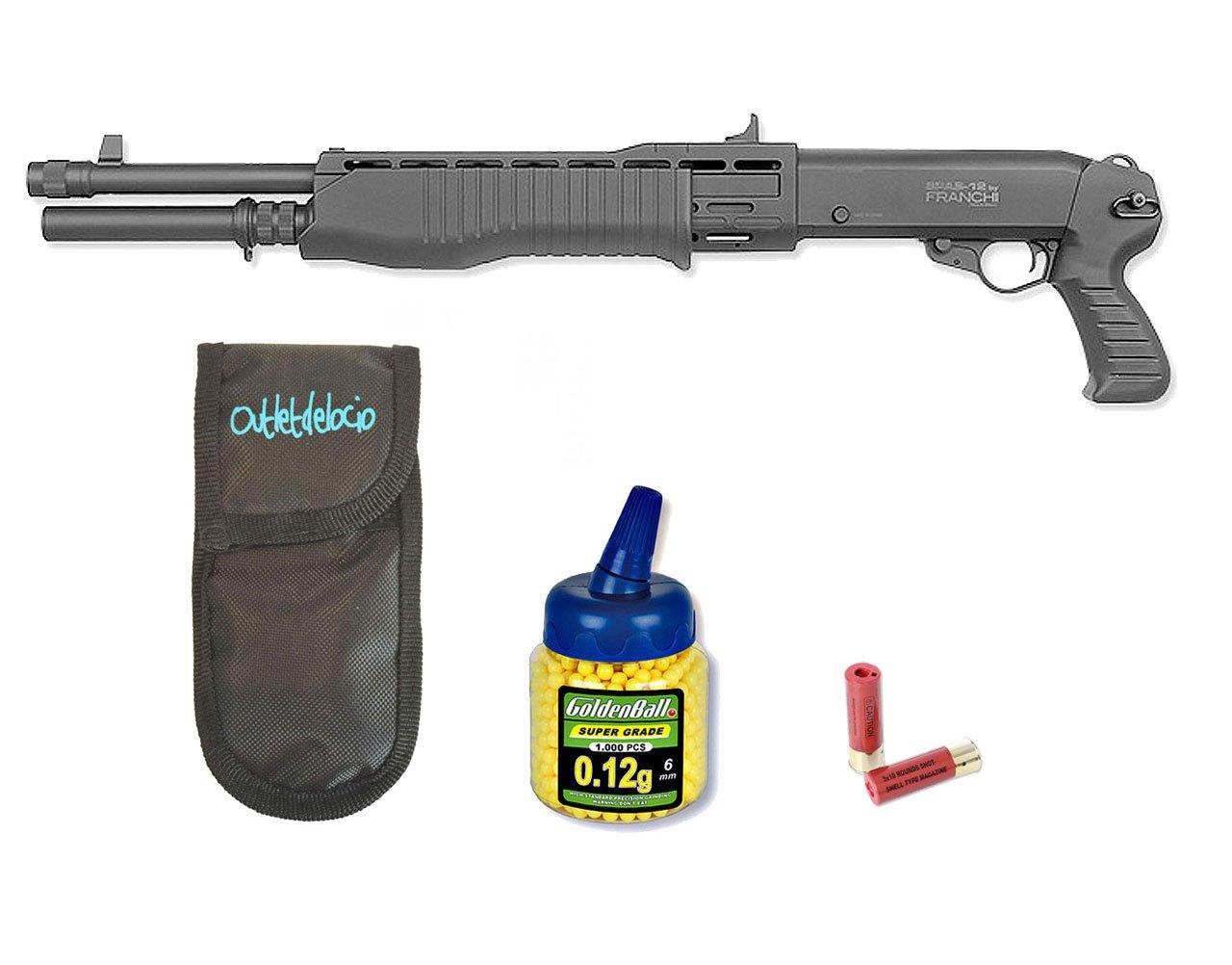 Pack Rifle Airsoft Franchi SPAS 12, 3 tiros simultaneos. Calibre 6mm. + Funda Portabalines + Biberon 1000 bolas. 23054/21993 Outletdelocio.