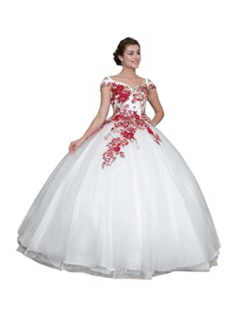 90b1c8911b79 Calla Collection Womens Off White Red Off Shoulder Quinceanera Ball Dress XS