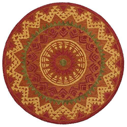 Rust Area Rug Round 4' (LR Resources DAZZL54059RUS40RD Dazzle Area Rug LR54059-RUS40RD 4 X 4 ft Plush Indoor, 4' x 4' Round, Rust)