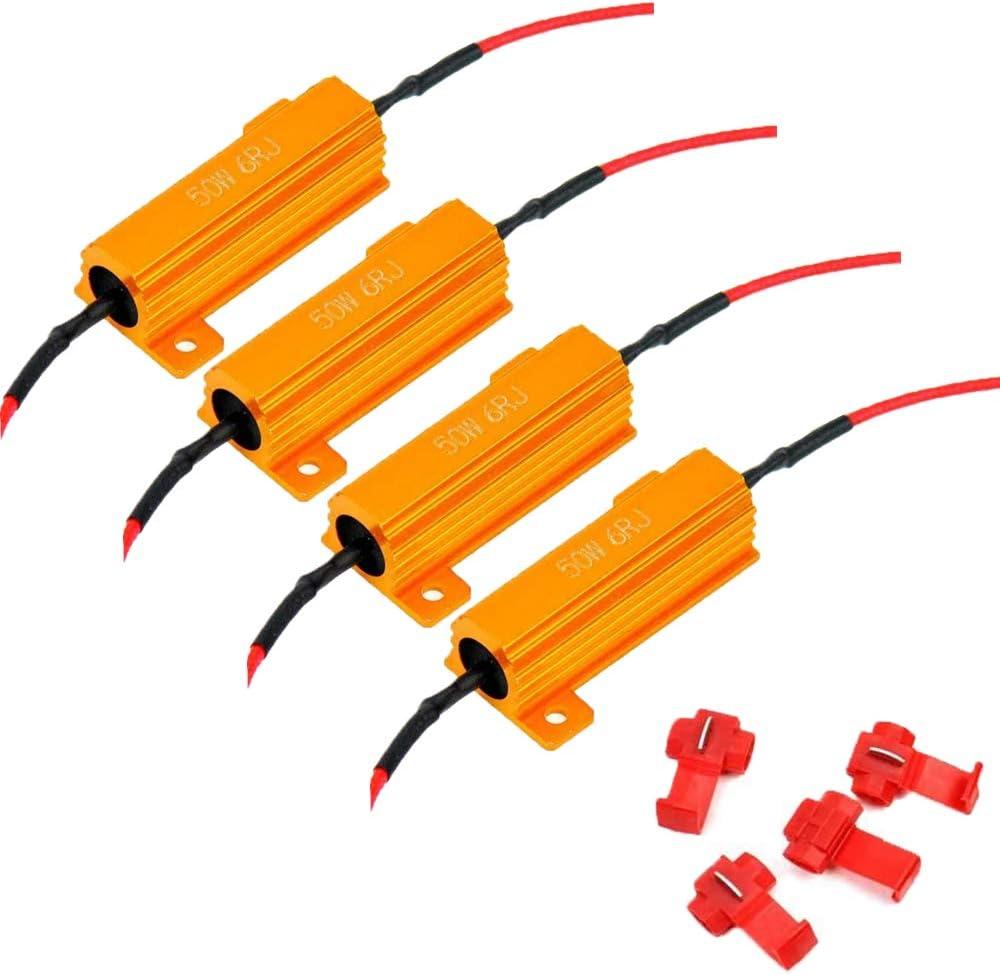 ALOPEE - 4-Pack 50W 6ohm LED Resistencia de carga para luz de señal de giro que funciona Luz intermitente Fix Hyper Flash Advertencia Error de reparación Flash rápido con 4pcs Quick Wire