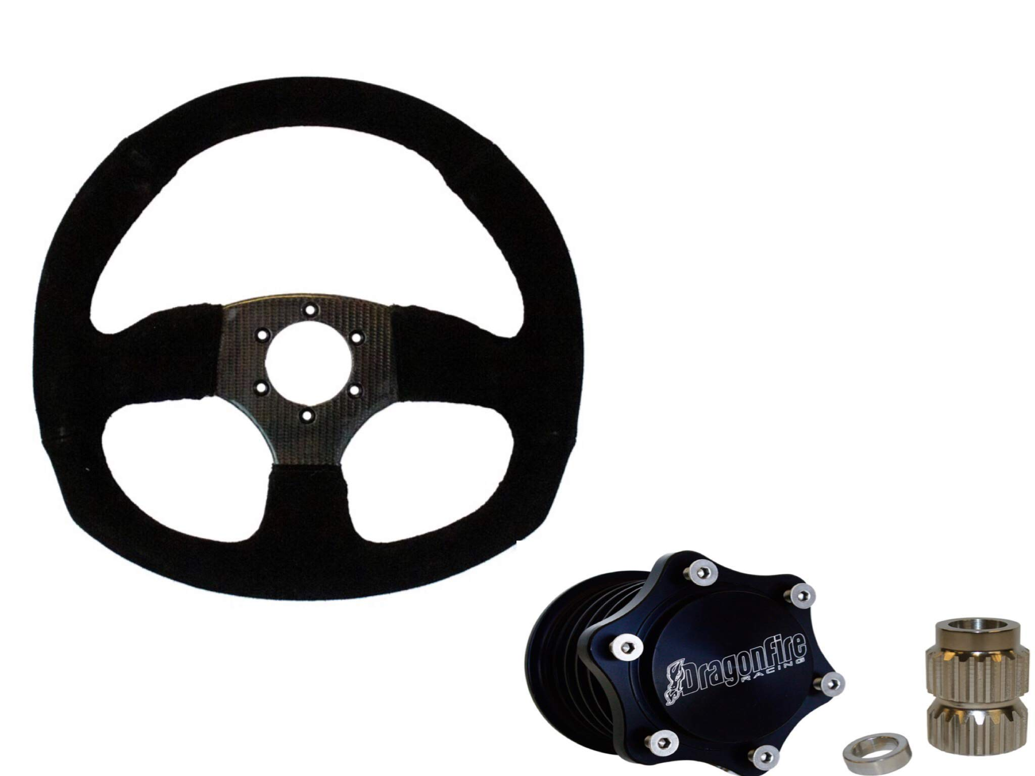 Dragonfire Racing Carbon Fiber D Quick-Release Steering Wheel Kit for Can-Am Maverick X3 2017-2019