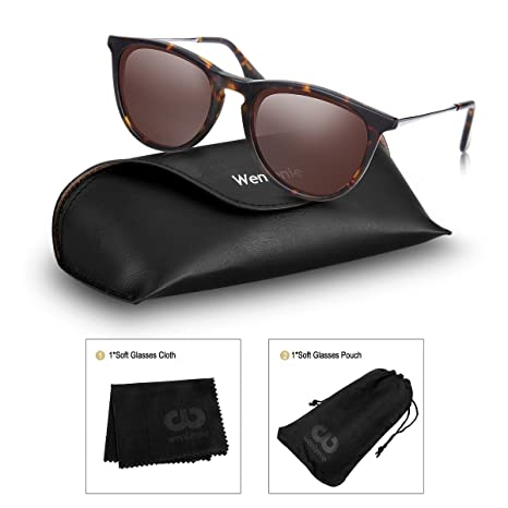 5e385591d5 Amazon.com  Polarized Wayfarer Sunglasses, Round Shades for Women by  Wenlenie Tortoise Frame Brown Lens