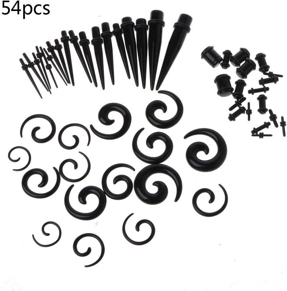 Yo Happy 54pcs Gauges Kit Ear Stretching 14g 00g Acrylic Spiral