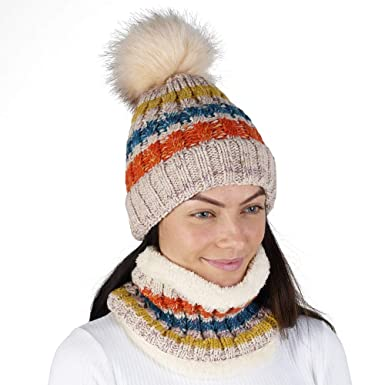 f30c0015b4b Hat and Snood Scarf Set for Women Winter Warm Knitted Beanie Pom Pom Scarfs  for Ladies (Beige A144)  Amazon.co.uk  Clothing