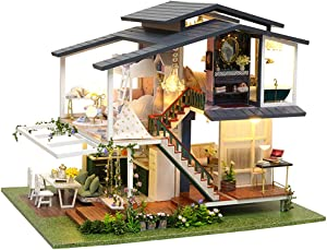 Fsolis DIY Dollhouse Miniature Kit with Furniture, Garden Cafe 3D Wooden Miniature House with Dust Cover, Miniature Dolls House kit Creative Gift