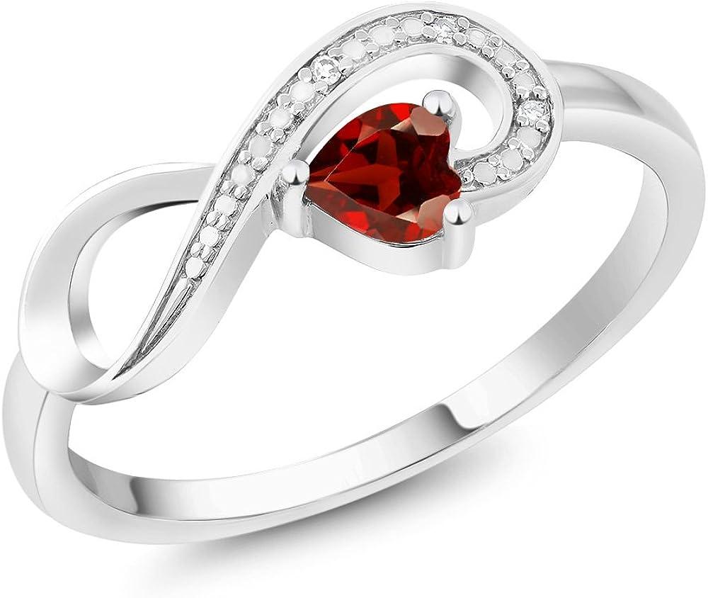 Gem Stone King 10K White Gold Red Garnet and Diamond...