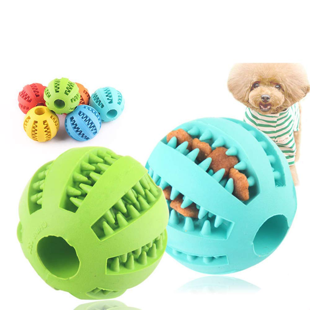 Pet Toys, Puppy Small Medium Dog Toys Balls (6 Pack) Rubber Durable Tough IQ Toys for Pet Tooth Cleaning Chewing Playing Treat Dispensing Pet Toy