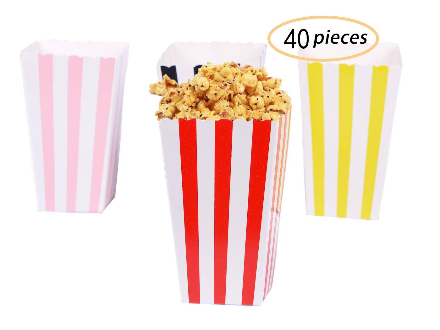 Yolito 40 pcs Mini Popcorn Box‐Striped Popcorn Paper Containers for Movie Night, Picnic,BBQ,Paty Favor(4color)