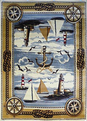 Area Rug Nautical Scene (3 Feet 10 Inch X 5 Feet 1 Inch) (Hut South Seas)
