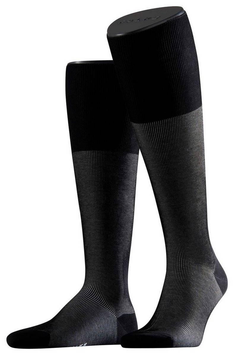 Falke Mens Fine Shadow Knee High Socks - Black/Grey - Extra Small