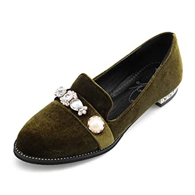 Aisun Women's Vintage Rhinestone Round Toe Low Cut Faux Suede Slip On Flats Loafers Shoes