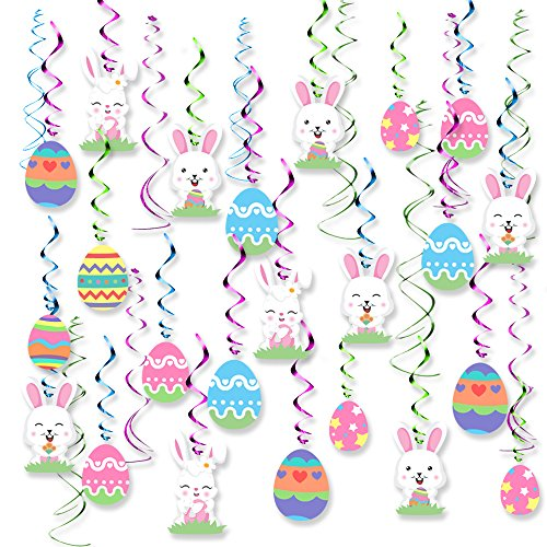 30PCS Easter Decorations Egg Bunny Foil Swirl Party Hanging Decoration Mega Value Kit, - Foil Eggs