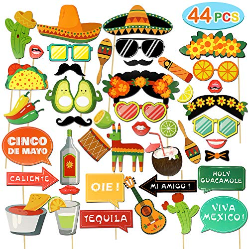 (44 PCs Fiesta Photo Booth Props Fun Mexican Themed Fiesta Party Supplies for Mexican Birthday Wedding Bachelorette Fiesta Party Favors)