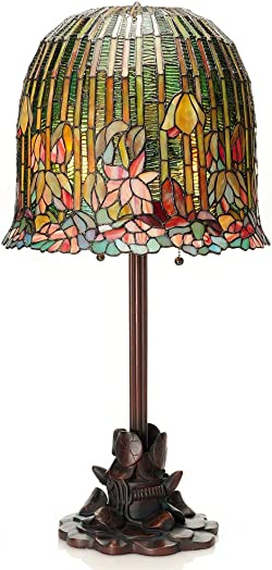 River of Goods 29-Inch Tiffany Style Stained Glass Pond Lily Table Lamp