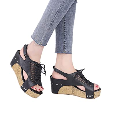 fb6499533fb3 GIANTHONG Women s Faux Leather Sandal Wedges Open Toe Cutout Ankle Strap  Platform Wedge Lace up Beach
