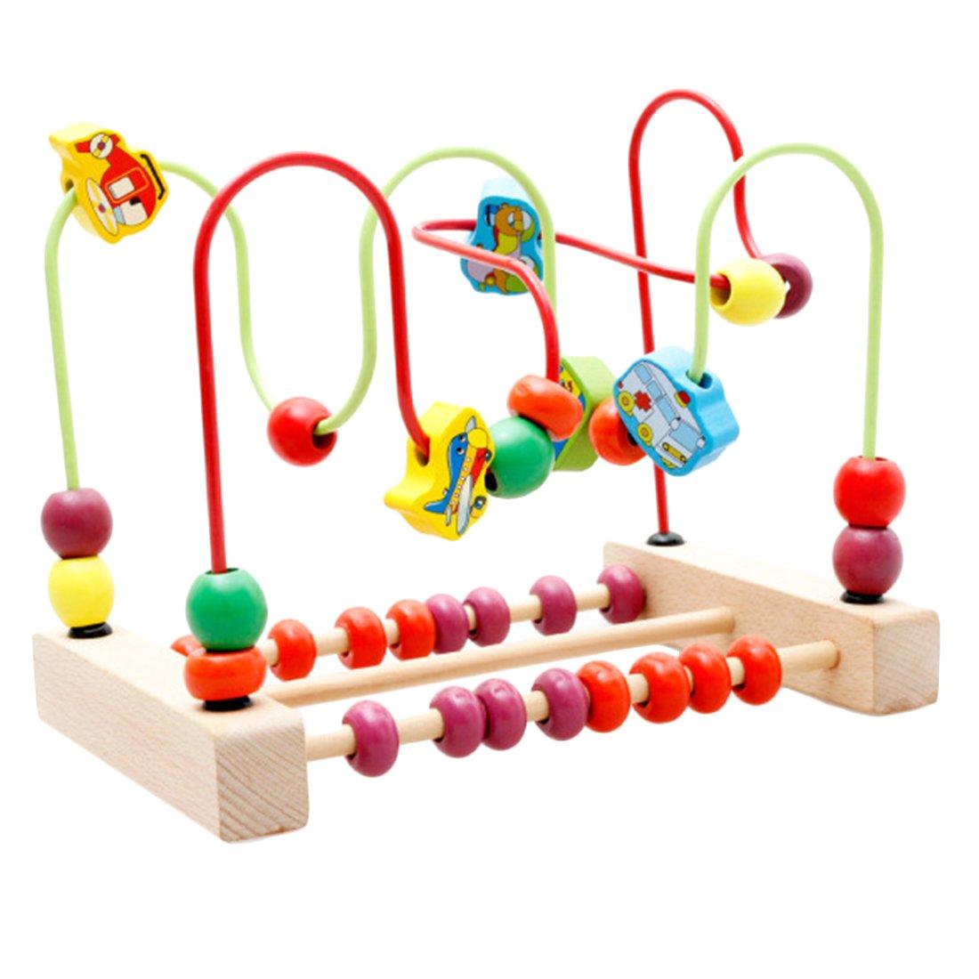 LVPY Motorikwürfel, Motorikschleife aus Holz mit drei verschiedenen Schleifen Tierkreis Roller Coaster um Korn Maze Spielzeug Für Kinder ab 3 Jahren LVPY Motorikwürfel