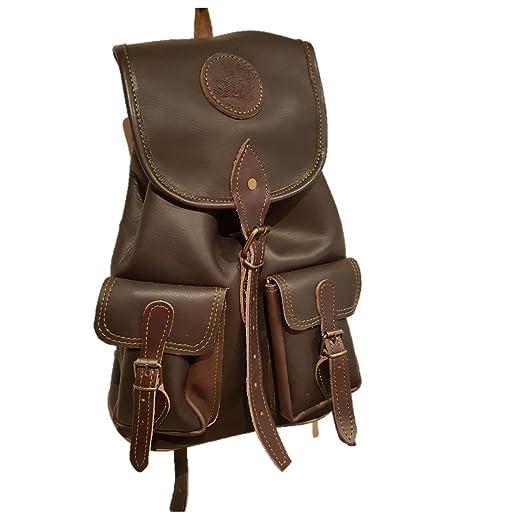 cazayaventura Mochila Fabricada en Piel marrón con 2 Bolsillos Frontales.Medidas 40x35x16: Amazon.es: Deportes y aire libre