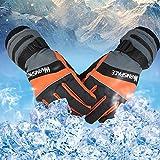 Per USB Rechargeable Electric Heated Gloves Warm Waterproof&Windproof Ski Warmer Gloves Outdoor Sports Gloves For Men Women-Orange,M