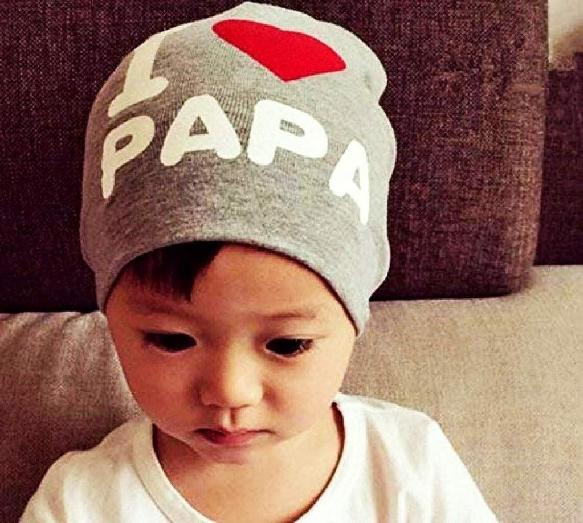 EVRYLON Cappello per Bambina O Bambino con Berretto E Scritta I Love pap/à Dad per Neonati Colore Ottima Idea Regalo