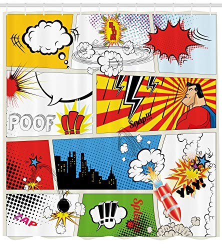 Ambesonne Superhero Shower Curtain by, Comics Template Fiction Fantasy Retro Speech Bubbles Expressions Effects Print, Fabric Bathroom Decor Set with Hooks, 70 Inches, -
