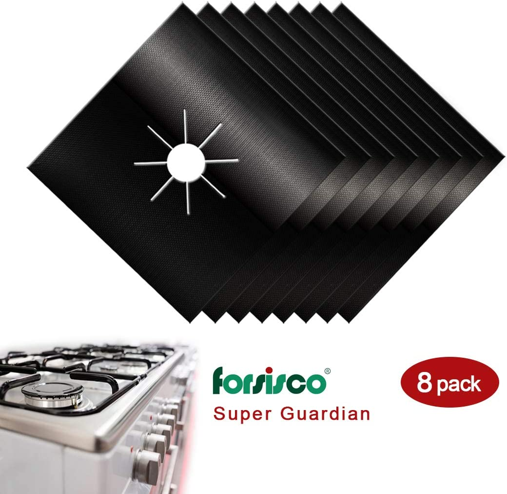 Stove Burner Covers for Stove Top Protector Forsisco Stove Guard Upgraded Black Gas Stove Top Gap Cleaner Reusable Kitchen Oven Square Liners-8pcs