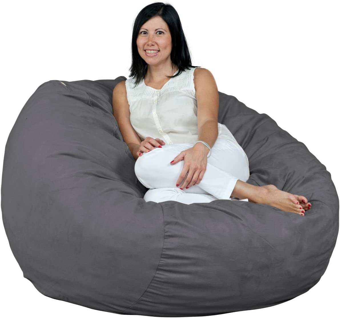 FUGU Bean Bag Chair, Premium Foam Filled 4 XL, Protective Liner Plus Removable Machine Wash Grey Cover