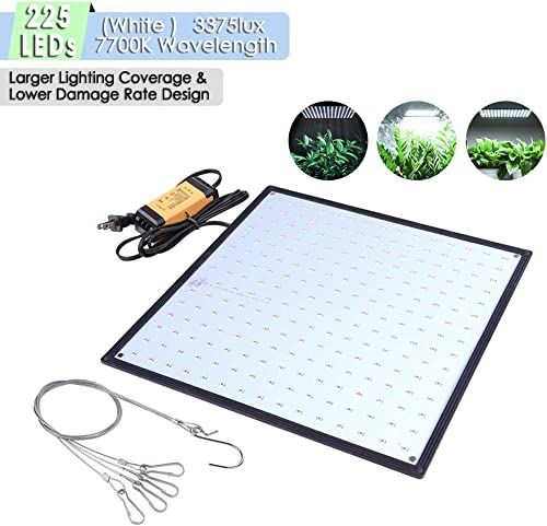 Yescom 225 White LEDs Grow Light Ultrathin Panel Hydroponics Indoor Plant Veg Flower Lamp for Growing Room Tent