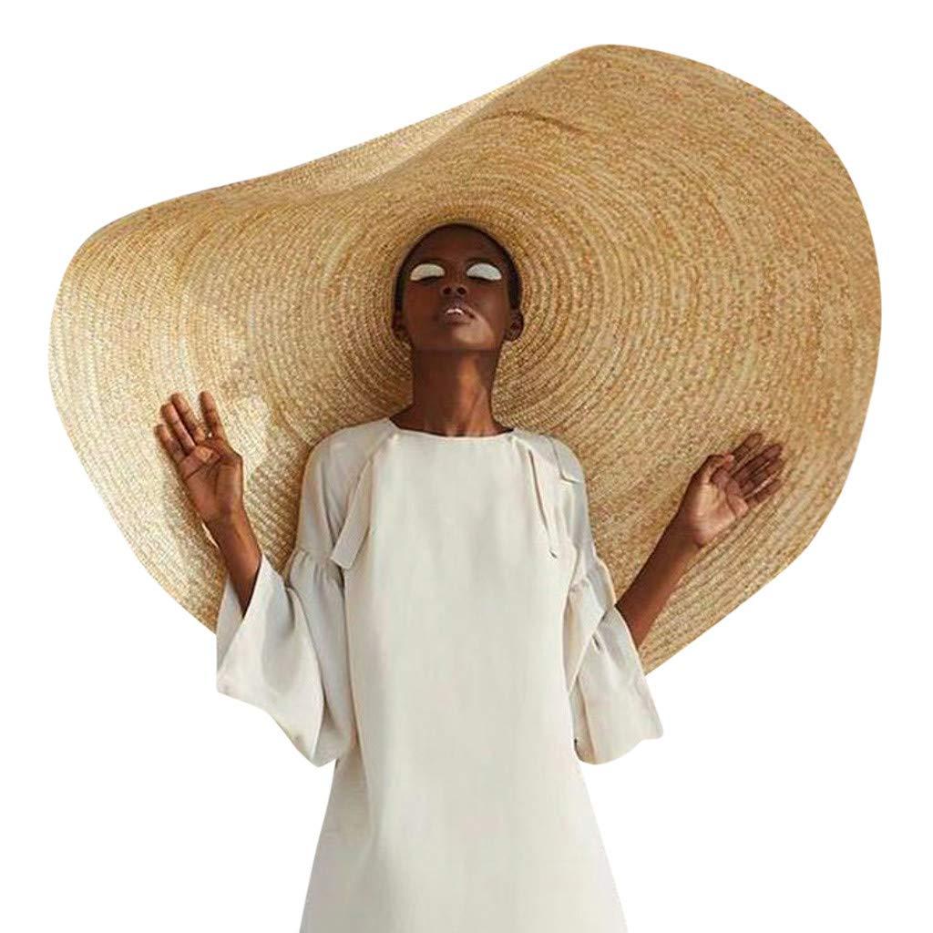 LIEJIE Fashion Super Large Sun Hat for Summer, Unisex Novelty Huge Sun Hat Beach Anti-UV Sun Protection Foldable Straw Cap Cover Sun Hat (Khaki, Diameter: 80cm/31.5inch)
