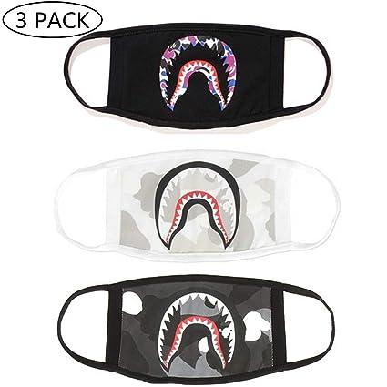 cc6b1c4a Amazon.com: NF orange Bape Bathing Ape AAPE Shark Black Camouflage Mouth Face  Mask Cotton Mouth-Muffle ((3) 3pcs) (Black, White, Gray): Health & Personal  ...
