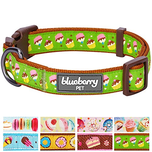Blueberry Pet 8 Patterns Summer Party Ideas Cupcake Fantasy Weekend Spree Designer Dog Collar, Small, Neck 12