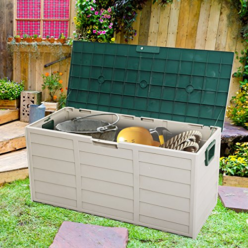 LAZYMOON Outdoor Patio Deck Box Garage Storage Backyard Tool Shed Container, Gray and Green by LAZYMOON