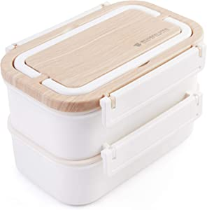 Stainless Steel Bento Box | Stackable Compartment & Bamboo &Leakproof Design Lunch Box | 2-Tier Portable Insulated Food Containers with Utensil(White)