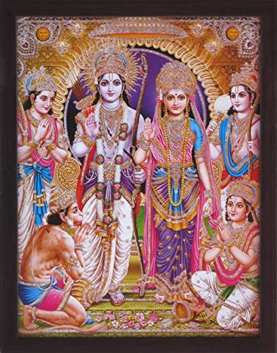 Hanuman Reciting Sita Ram Sita Ram and Lord Ram Giving him Blessings A Poster Painting with Frame for Gift Purpose.