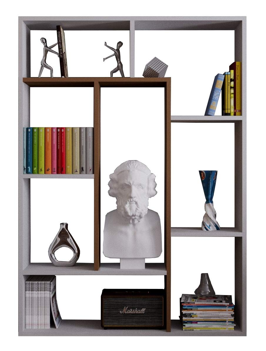 Homidea Spring Bücherregal - Weiß/Nussbaum - Standregal - Büroregal - Raumtieler für Wohnzimmer/Büro in modernem Design