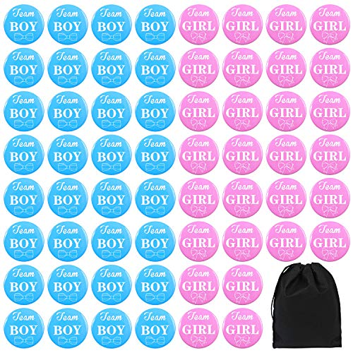 (Elcoho 60 Pieces 2 Inches Gender Reveal Button Pins Team Girl or Boy Pins for Gender Reveal Party Baby Shower Party)