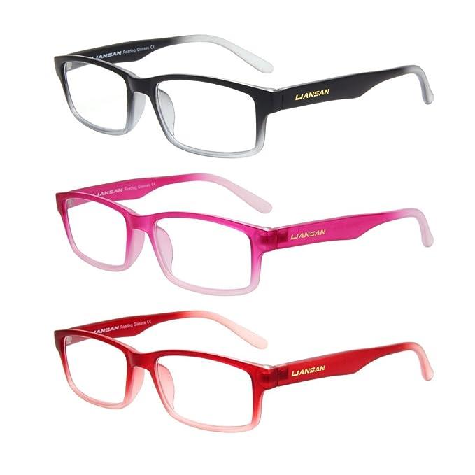 4a58702219b LianSan Womens Mens Designer 3 Pack Magnifying Rectangular Lightweight Reading  Glasses Unisex Fashion Readers 1.5 1.0