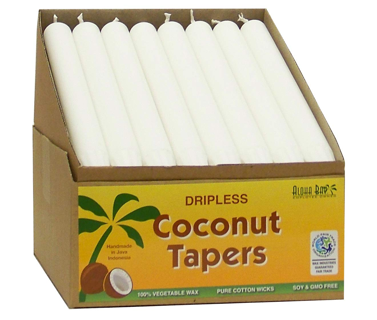 Aloha Bay Coconut Tapers - 32 Pack of 9 Tapers - White by Aloha Bay