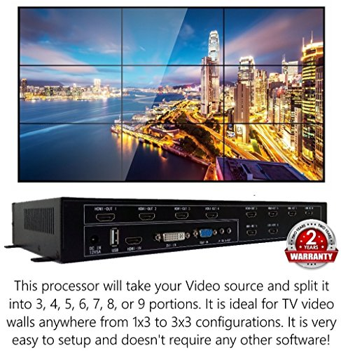 3x3 HDMI Video Wall Processor (2019 Version) HD TV 1080P Matrix Controller Splicer Splitter Display 3x2 2x2 3x1 1x3 2x3 4x2 - Video Switcher Composite Matrix
