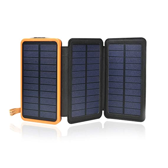 Solar Charger 12000mAh,Waterproof Foldable Outdoor Portable Power Bank with 3 Solar Panels,Fast Charge External Battery Pack with Dual 2.1A Output USB ...