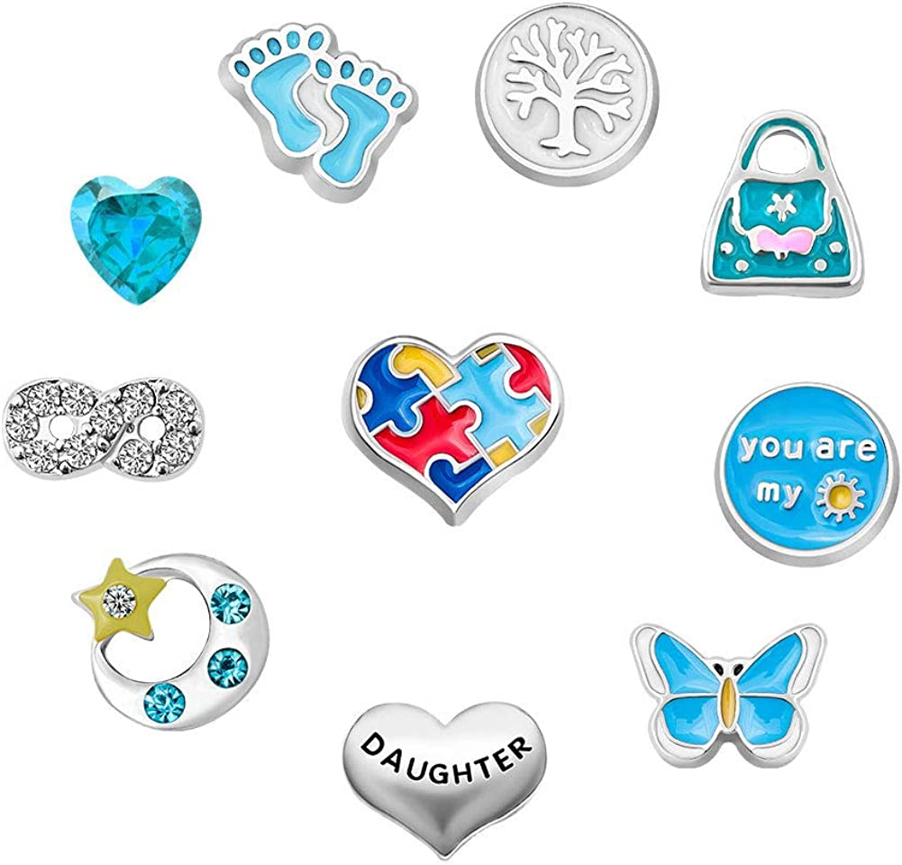 Q&Locket Mom Grandma Family Tree Floating Charms for Glass Living Memory Lockets Necklace &Bracelet